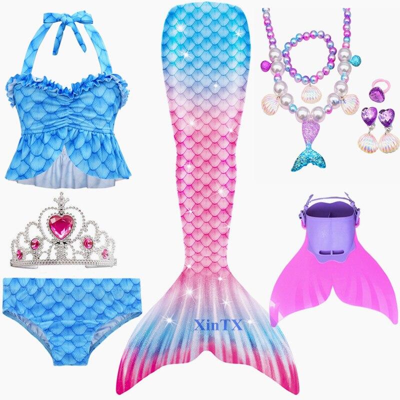 Crianças sereia maiô biquíni para meninas sereia cauda roupas de banho pode adicionar monofin fin coroa com colar