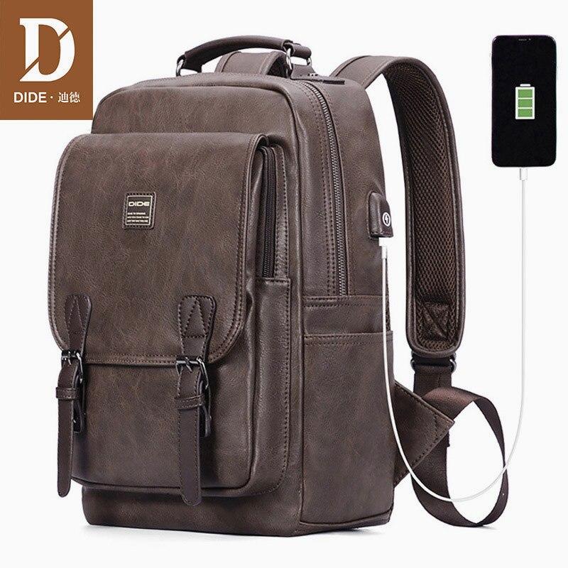 DIDE, новый рюкзак с USB зарядкой, винтажный рюкзак из искусственной кожи для ноутбука, мужской рюкзак Mochila, брендовый рюкзак для путешествий, шк...