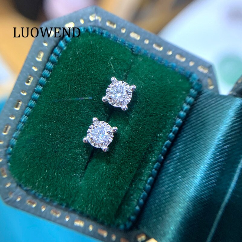 LUOWEND 100% 18K Solid Gold Earrings Women Stud Earrings Real Natural Diamond...