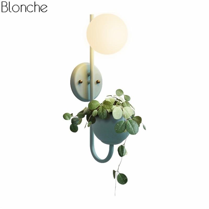 مصباح حائط بتصميم ماكرون على الطراز الاسكندنافي مع وعاء زهور ، كرة زجاجية ، عاكس الضوء ، لغرفة المعيشة ، الدراسة ، غرفة النوم ، مصباح السرير