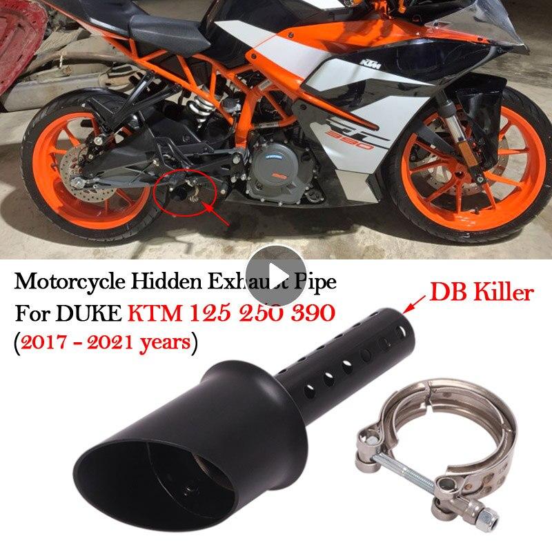 Slip On Motorcycle Hidden Mini Exhaust Pipe Modified Escape Moto Muffler DB Killer For DUKE KTM RC390 125 250 390 2017 - 2021