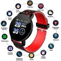 119 plus smart watch mens smart band women fitness bracelets waterproof wristband heart rate monitor for kids smartwatch reloj