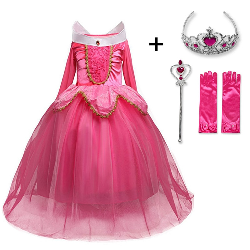Fancy Sleeping Beauty Princess Aurora Dress up Party Costume Long Sleeve 4 Layers Cosplay Long Dress Halloween Birthday Gift
