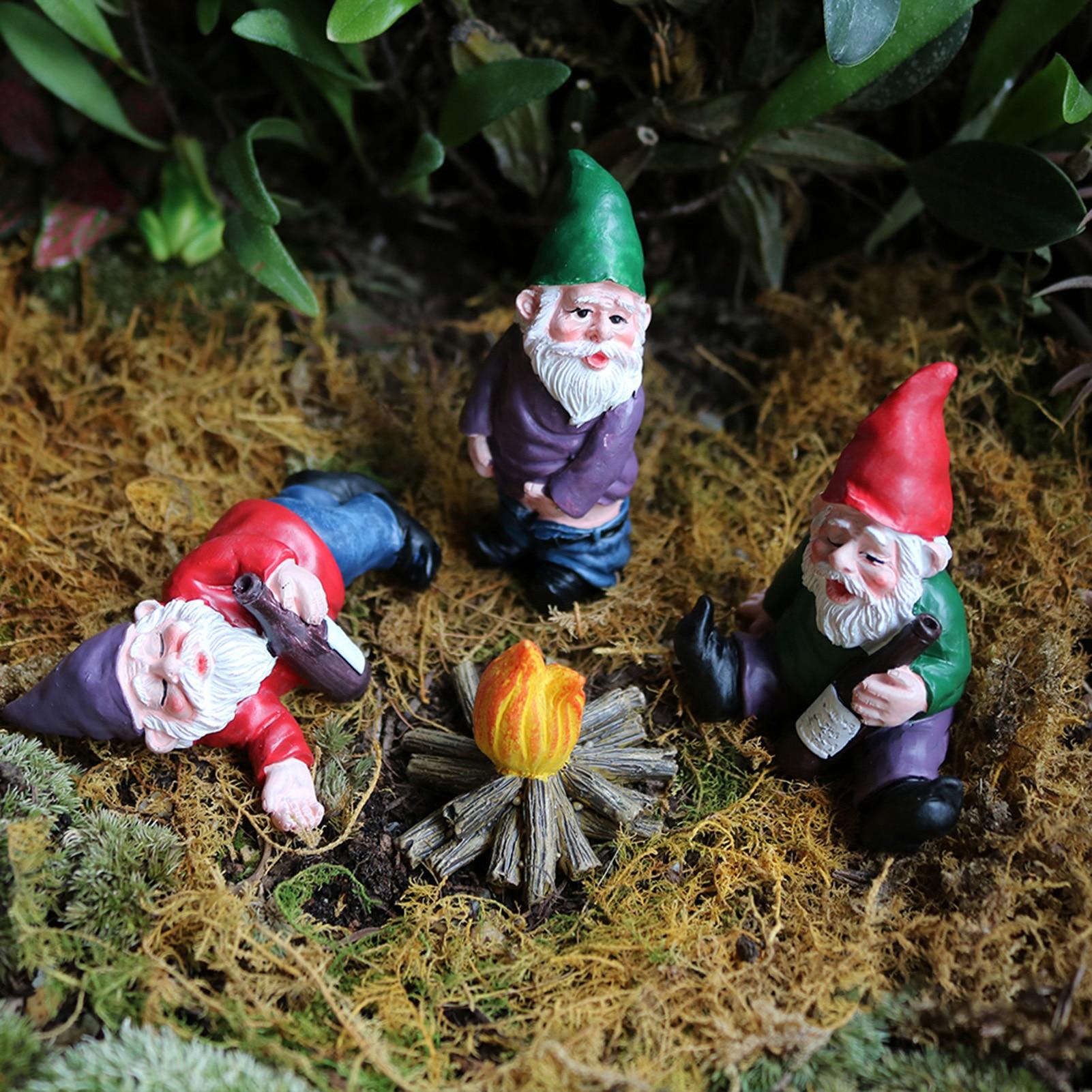 Fairy Garden Tiny Gnomes Statue Garden Courtyard Ornaments Fairy Resin Micro Landscape Outdoor Miniature Resin Figurine Ornament