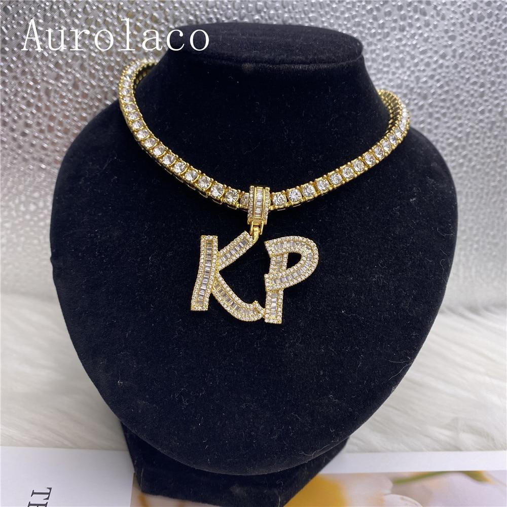 AurolaCo مخصص اسم قلادة شخصية الفولاذ المقاوم للصدأ قلادة ذهبية اثنين رسالة اسم قلادة قلادة مجوهرات الزفاف هدية