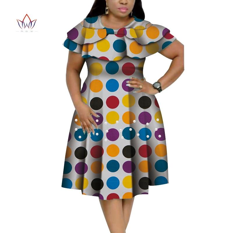 فستان بازان أفريقي غني للنساء ، ياقة مكشكشة ، مع طباعة لؤلؤية ، مجموعة جديدة WY4401