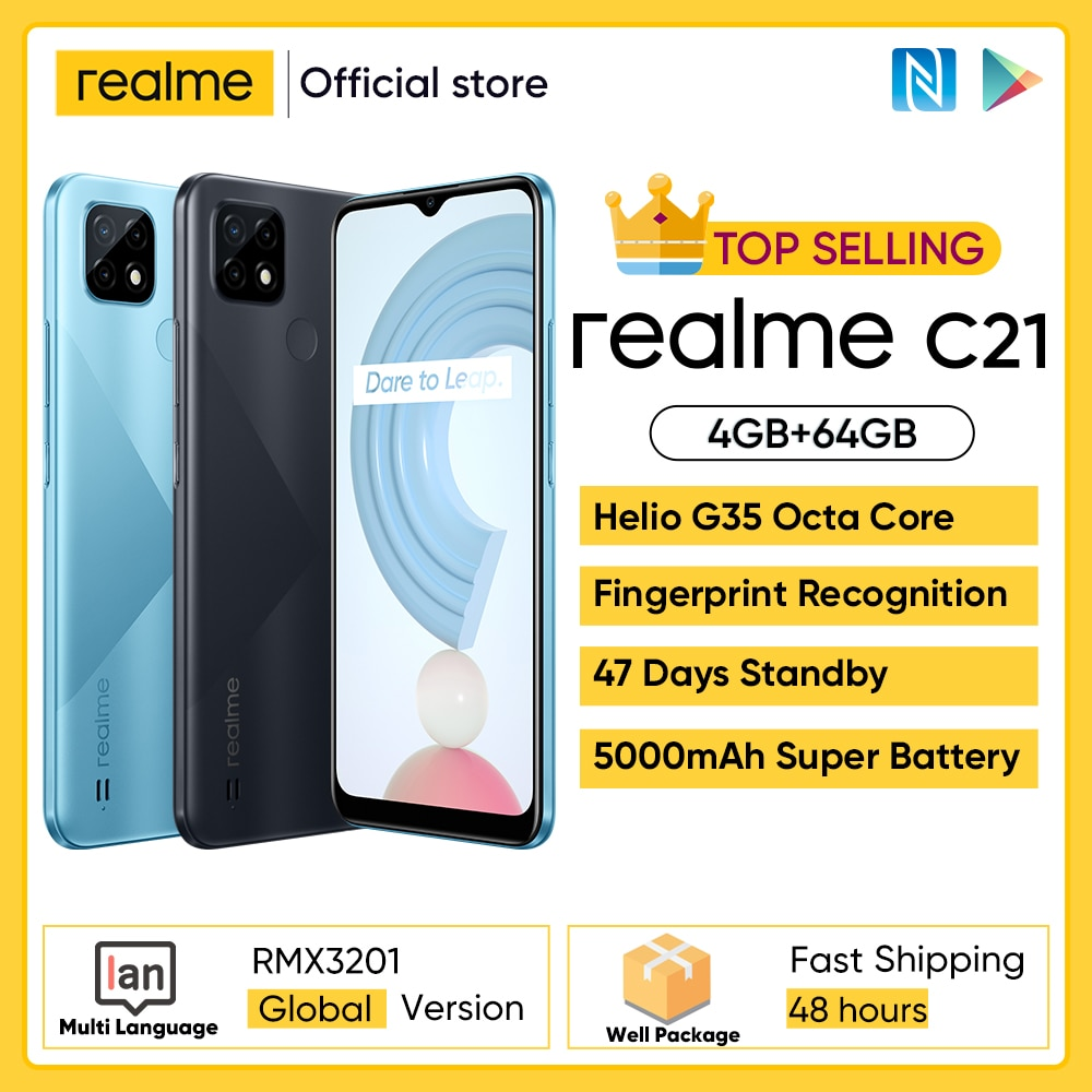 Global Version realme C21 Smartphone 4GB 64GB Helio G35 Octa Core 6.5'' Screen 5000mAh Massive Battery 3-Card Slot 13MP Camera