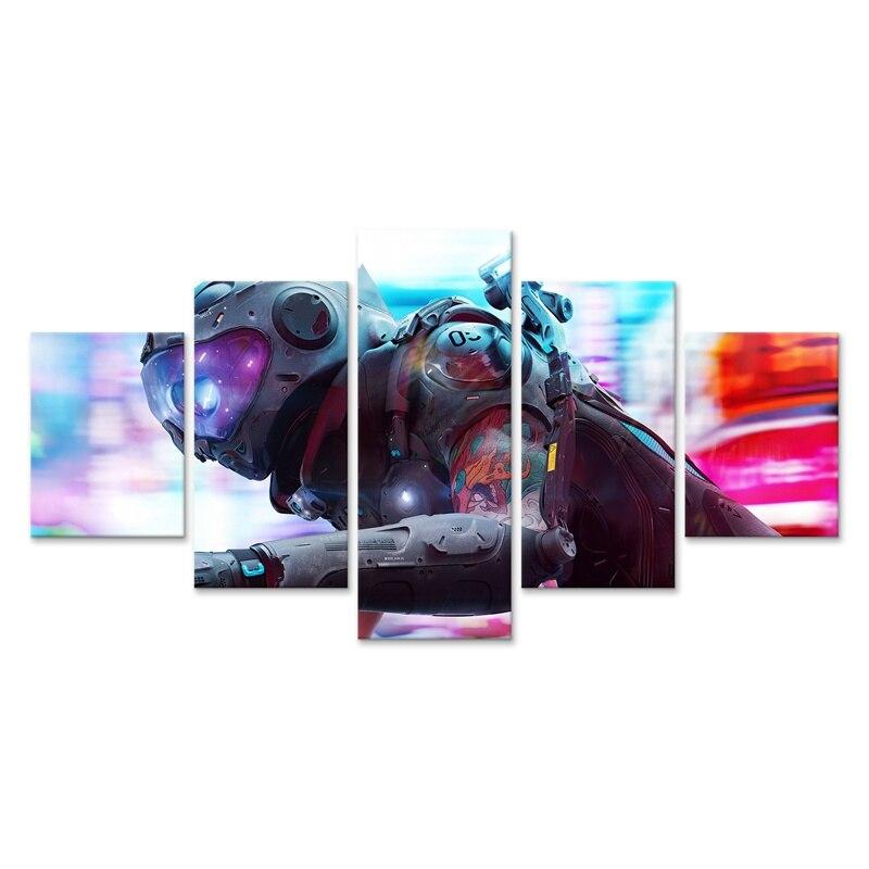 Cyberpunks домашний декоративный холст для езды на мотоцикле, печать картин, 5 шт., модульные фотографии для гостиной, стеновое искусство, постер