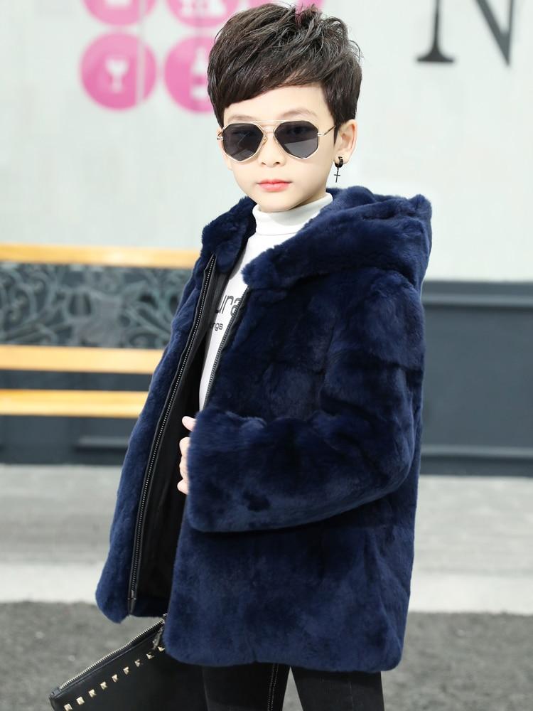 2021 Winter Kids Boys New Real Rabbit Fur Coat Childrens Genuine Natural Fur Jacket Teenage Boys Thicken Warm Outerwear W911