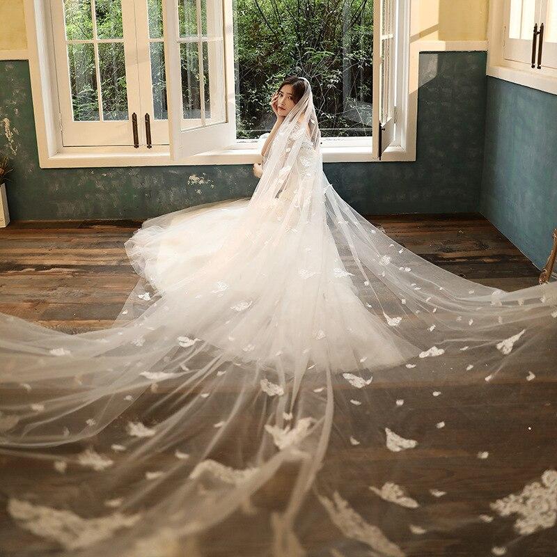 Foto real véu de casamento branco 3 metros de comprimento véus de noiva apliques de uma camada de casamento de noiva em estoque 2020
