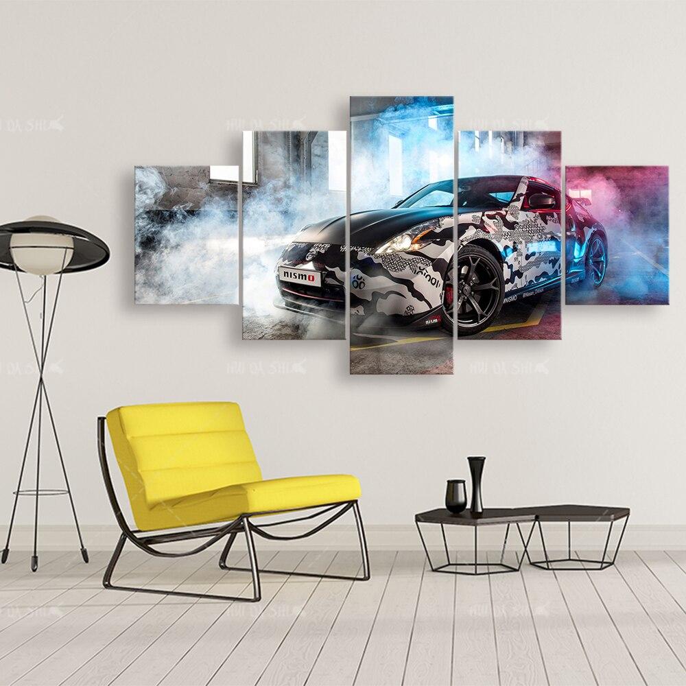 Deportes coche lienzo pintura HD impresión Modular arte moderno 5 piezas Nissan coche fotos cabecera hogar decorativo pared arte carteles