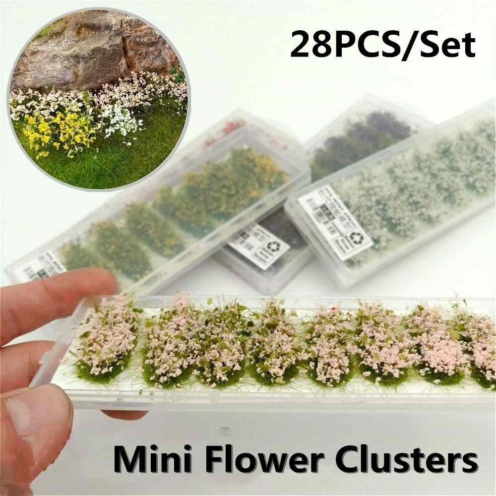 28pcs Model Scene Terrain Production Simulation Flower Cluster Wild Rose Flower DIY Miniature Landscape Material