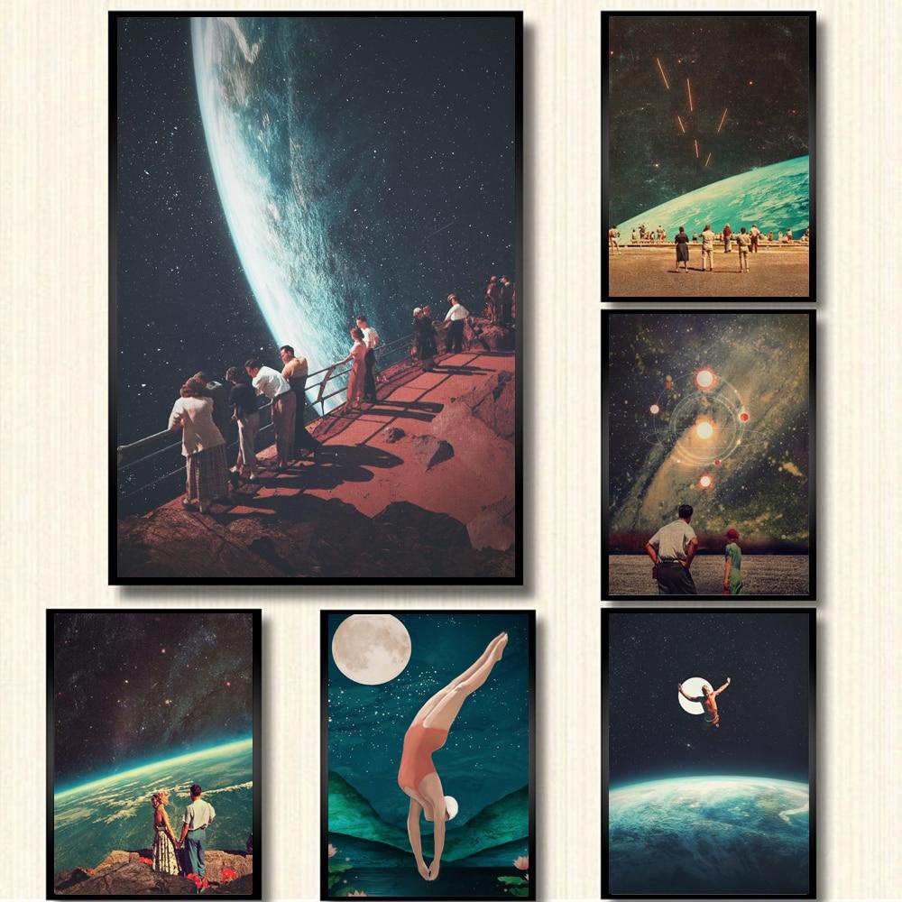 Ночное небо Художественная печать земля Холст Плакаты сюрреалистичность галактика космическая Луна холст живопись плавающие космические настенные картины Sci-Fi Декор