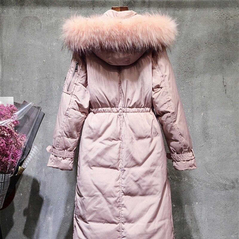 الشتاء بطة سترة نسائية ثقيلة طويلة أسفل معطف الإناث سميكة ضئيلة السترات ملابس السيدات كبير الفراء مقنعين المعاطف الدافئة LWL1047