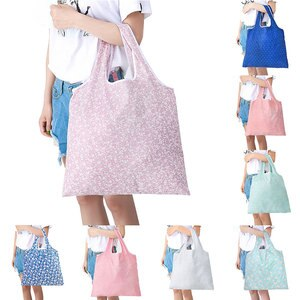 Folding Shopping Bag Lady Foldable Oxford Cloth Unisex Reusable Tote Pouch Waterproof Storage Handbags Sample Travel Bag