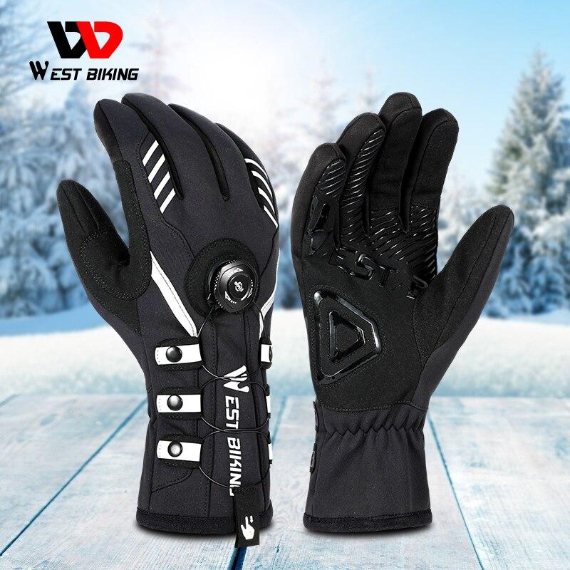 WEST BIKING-guantes de esquí antideslizantes, autosujeción, ajustable, dedo completo, para ciclismo, para...