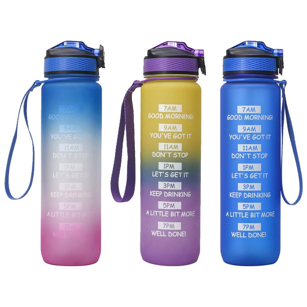 Outdoor Water Bottle with Straw Sports Bottles Leak Proof Eco-friendly Lid Hiking Camping Portable F
