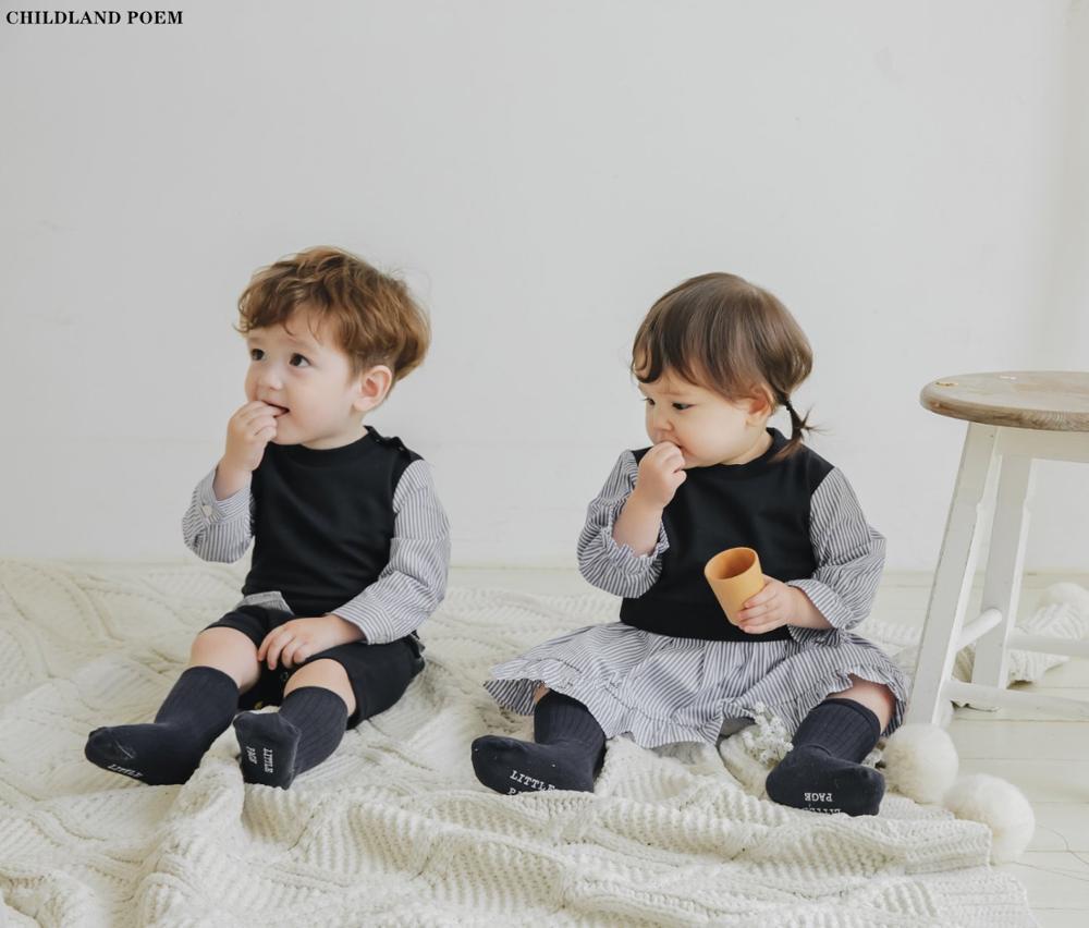 ملابس مطابقة للأخ والأخت للفتيات الصغيرات ، بدلة مخططة من القطن للأطفال البنات والأولاد