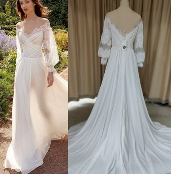 9352# Gorgeous O Neck Sheer Long Sleeve Chiffon Bohemian Lace Wedding Dress Appliques Tulle A Line Bridal Gown Sweep Train
