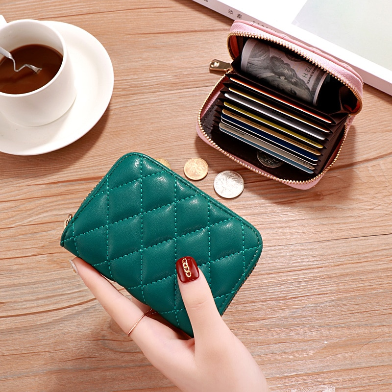 New Fashion Personality Rhombic Coin Purse Ladies ID Card Large Capacity Wallet Mini Simple Package Clutch Bag Women