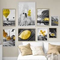 yellow train car tree leaf balloon lover nordic posters and prints wall art canvas painting wall pictures for living room decor