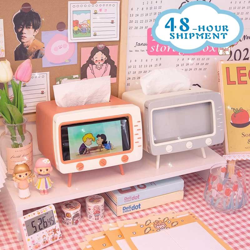 Creative TV Tissue Box Household Kitchen Tissue Storage Box Living Room Drawer Multifunctional Mobile Phone Shelf