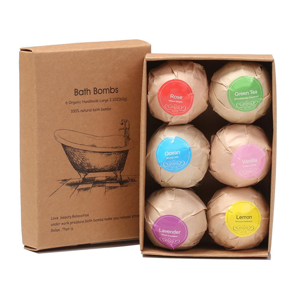 6pcs Bath Bomb Skin Whitening Bath Salt Body Moisturizing Bath Bombs Ball Natural Bubble Bath Salt Ball Gift Set Spa