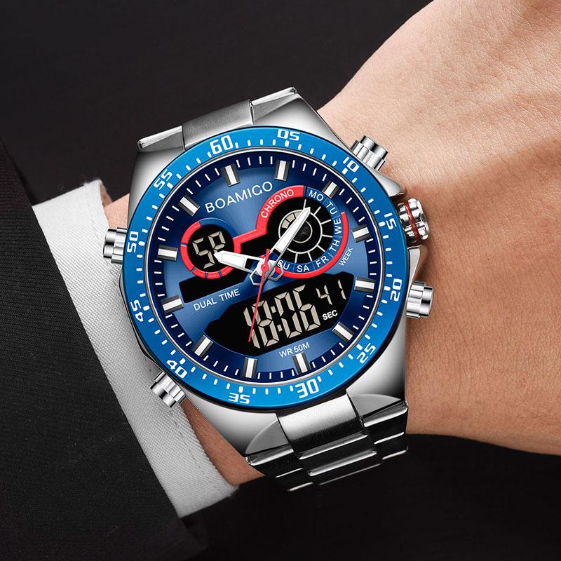 BOAMIGO-ساعة رياضية من الفولاذ المقاوم للصدأ للرجال ، عقارب رقمية فاخرة ، كوارتز أزرق ، موضة جديدة ، 2020