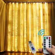 Lumières Icicle de rideau en fenêtre, lumière de la minuterie à distance, lumières de chaîne fée scintillante, 8 Modes pour la fête de mariage, décoration murale en toile