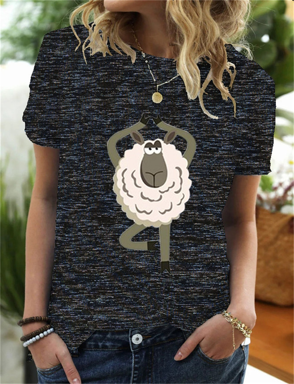 Yoga Sheep Cartoon T-shirt Women Fashion Tshirt Women Cute Printed O-neck Top Tee Shirt Femme Casual