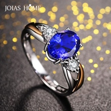 JoiasHome luxe saphir anneau pour les femmes ouvert ajuster la taille avec ovale bleu pierre gemme 925 argent classique bijoux cadeau de mariage