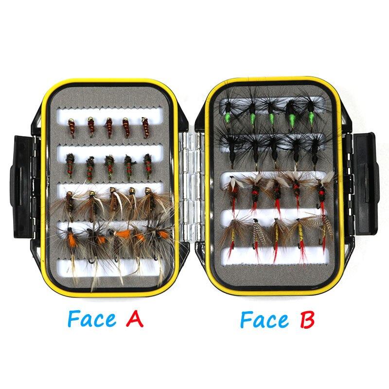 [40 unids/set] rentable Ninfa seco húmedo señuelo de la pesca con mosca caja Set atado de moscas Material carnada falsa moscas para trucha Grayling Panfish