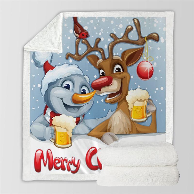 Amazon для взрослых детей мультфильм Рождество 3 d цифровая печать больше хлопка шерстяное одеяло для фигуры на заказ