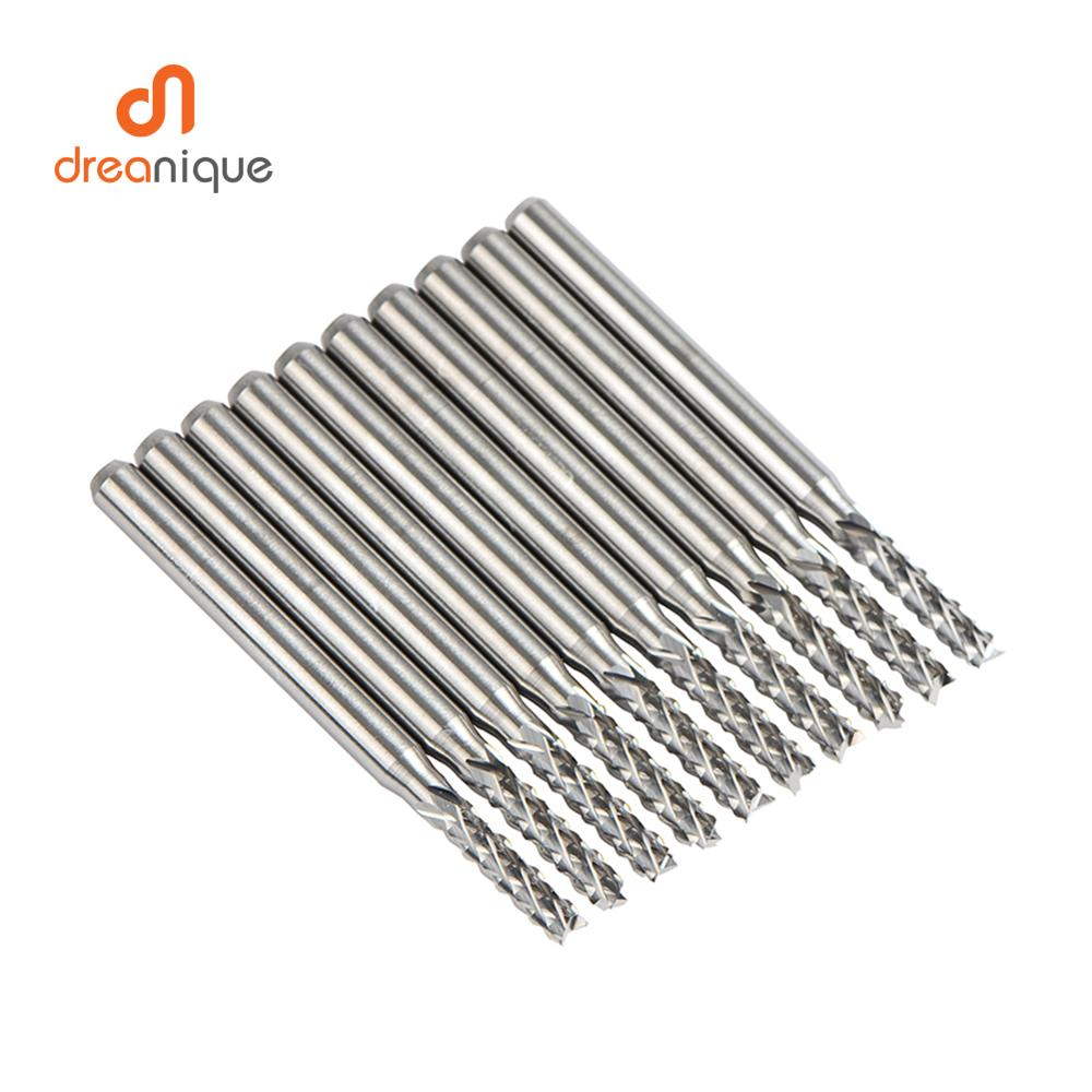 10pcs/set Solid Carbide Corn End mill Milling Cutter Bits D0.8, 1.0, 1.6, 1.8, 2.4, 3.1 PCB End Mill CNC Cutting Milling Tools enlarge