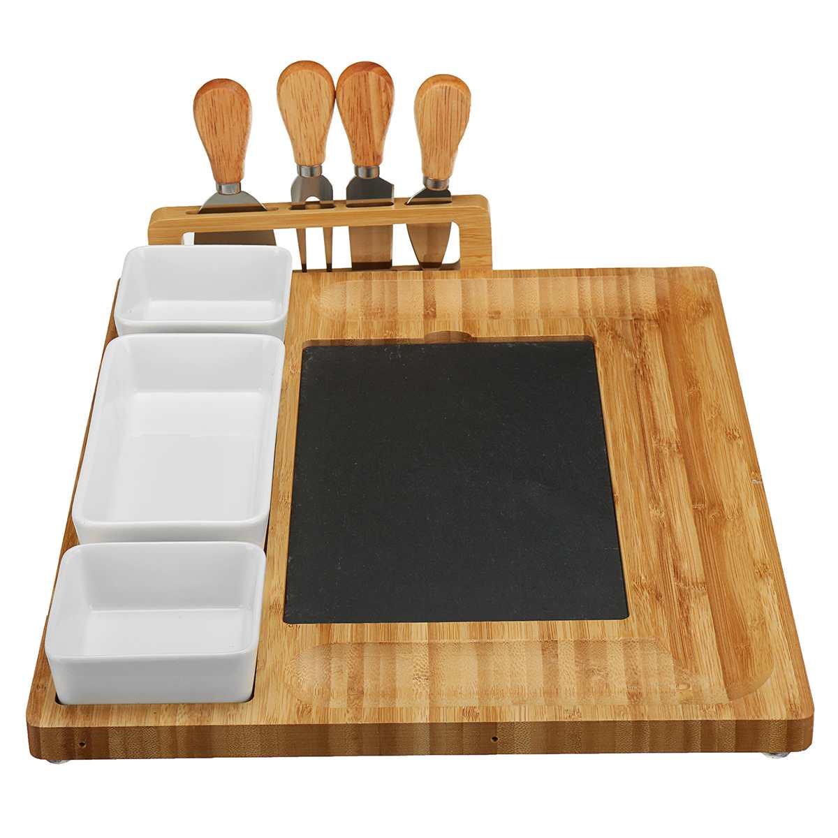 8 قطعة الجبن خشبية مجلس السكاكين Knif مجموعة السكاكين مجموعات أدوات الطبخ سكين للجبن تقطيع شوكة سكوب قطع