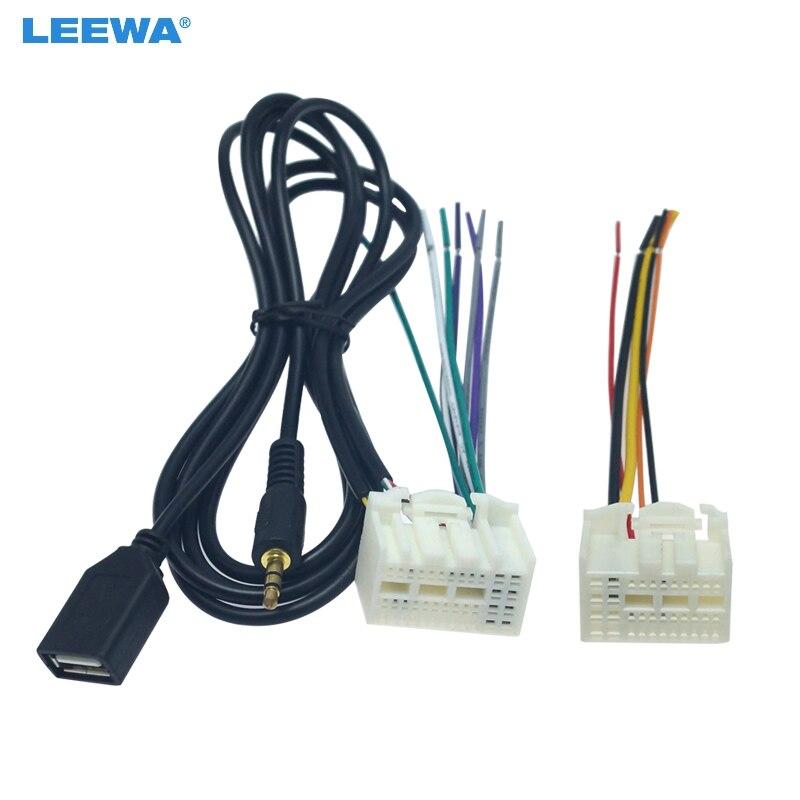 LEEWA стерео радио жгут проводов адаптер с AUX (3,5 мм)/USB разъем для KIA K2/K3/K4/Elantra/Mistra/Tucson # CA6231