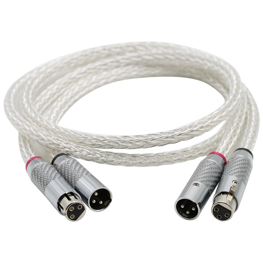 Cable de Audio de 16 hebras OCC Chapado en plata de alta gama 8AG, cable equilibrado XLR de 3 pines de fibra de carbono, cable de XLR a interconexión XLR