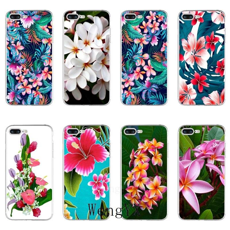 Plumeria flores Hawaii Trópico accesorios funda para teléfono para iPhone 11 Pro XS Max XR 8X8 7 6 6S Plus 5 5S SE 4S 4 iPod Touch