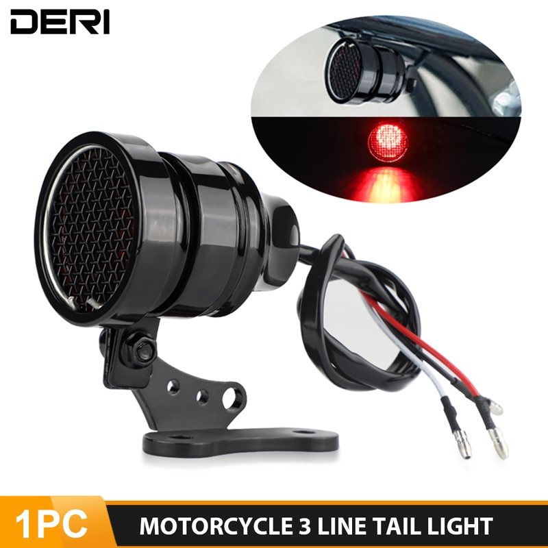 Universal Motorcycle Vintage Taillight Mesh Grill Brake Stop Lamp Cafe Racer Retro Custom Tail Light For Harley Bobber Dyna