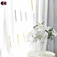 yellow gray small dot embroidered voile curtains for bedroom living room pastoral delicate french window cortinas wp002c
