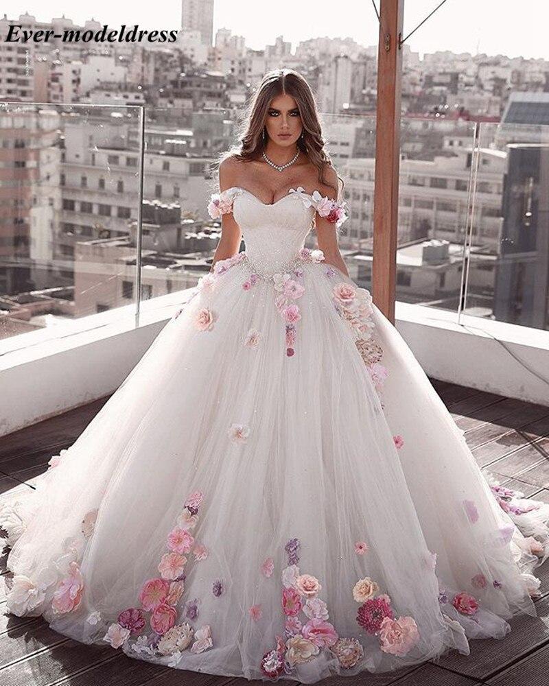 Gorgeous Ball Gown Princess Wedding Dresses 2019 Off The Shoulder Handmade Flowers Appliques Dubai Arabic Bridal Gowns Vestidos