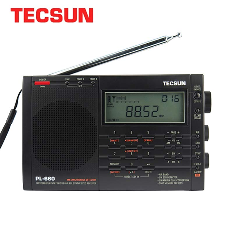 TECSUN PL-660 راديو PLL SSB VHF الهواء الفرقة راديو استقبال FM/MW/SW/LW راديو متعدد الفرقة المزدوج تحويل الإنترنت المحمولة راديو