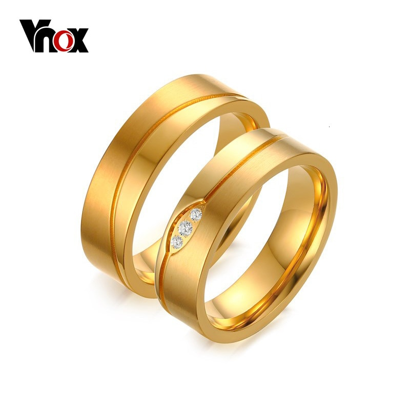 Vnox Gold-color Wedding Ring for Women/Men CZ Stone Anel De Compromisso Alianca De Casamento