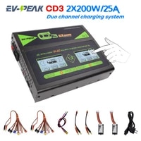ev peak cd3 2x 25amps200watts duo 6s lipo charger with two touch screens 2 pc 8in1 plugs