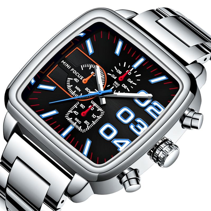 ساعة يد رجالية من الفولاذ المقاوم للصدأ ، ماركة فاخرة ، كوارتز ، كرونوغراف رياضي ، ساعة مربعة