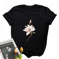 cottagecore aesthetic basic t shirts for summer beautiful flower cartoon printed t shirts kawaii graphic style top for women