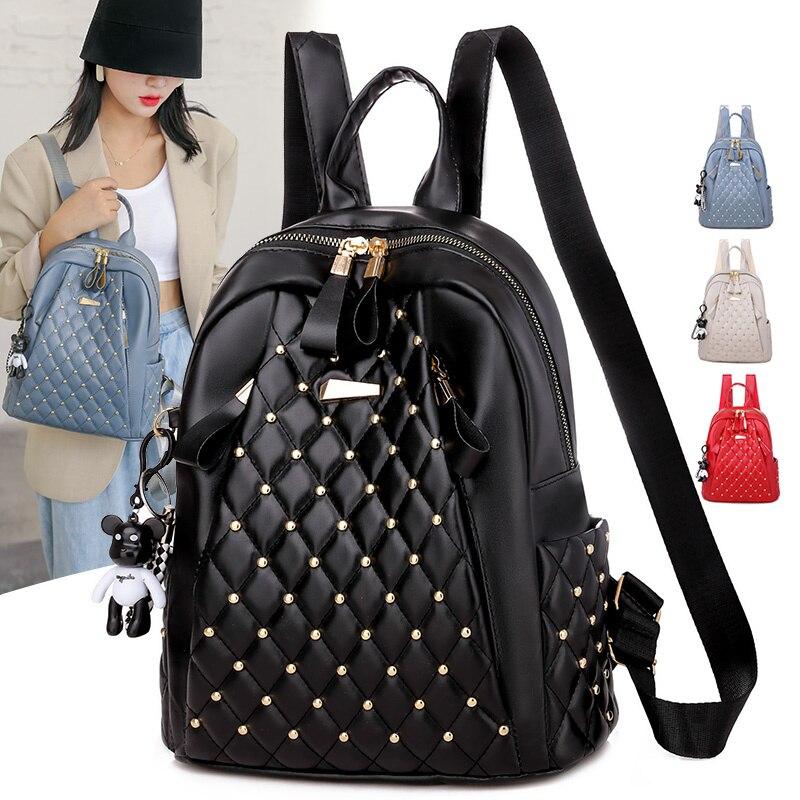 Women in vintage high-quality leather backpack lady's shoulder bag school bag lady's rear female bac