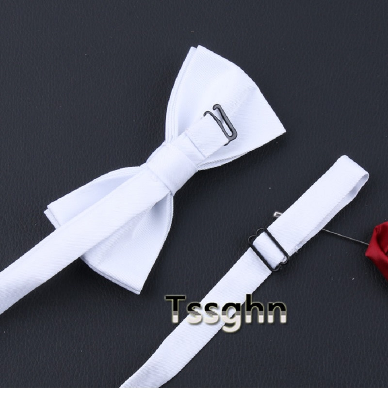 2020 New Fashion Designer Men's Bow Ties Double Fabric Black White Solid Color Bow Tie Show Wedding Butterfly Tie with Gift Box
