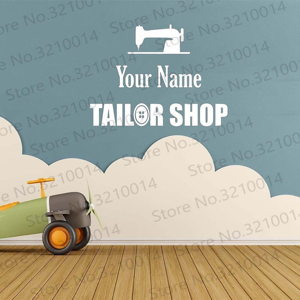 Seu nome personalizado alfaiate loja negócio vinil decalque sinal personalizado moda janela adesivos arte vinil pw886