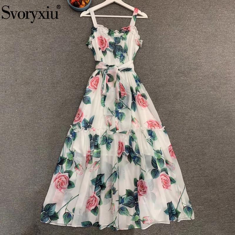 Svoryxiu diseñador de moda de verano de las mujeres de estampado Floral Vintage Vestido largo de las señoras volantes espalda descubierta vacaciones Spaghetti Strap vestidos